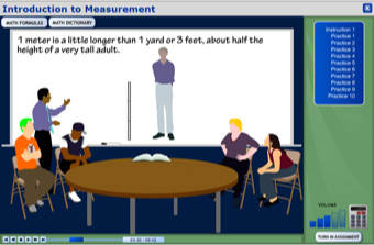 Screenshot of math program: Measurement