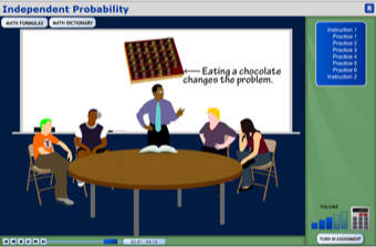 Screenshot of math program: Probability