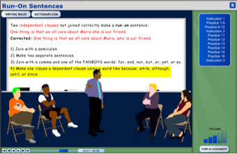 Screenshot of writing program: Sentence Structure